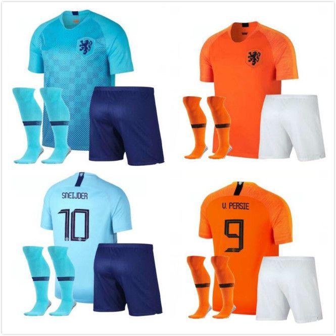 the latest 302f7 2b300 Adult kit 2018 2019 Netherlands soccer jersey home 18 19 European National  League away Virgil V.PERSIE SNEIJDER MEMPHIS football shirts