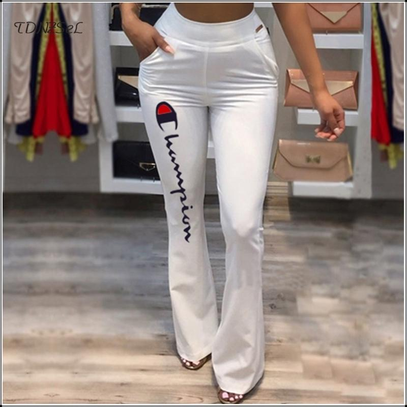 2053e044 2019 Summer Women Brand White Flare Pants Mid Waist Back Zipper Skinny Casual  Party Trousers Elastic Slim Office Pant New Sportwear C19041201 From ...