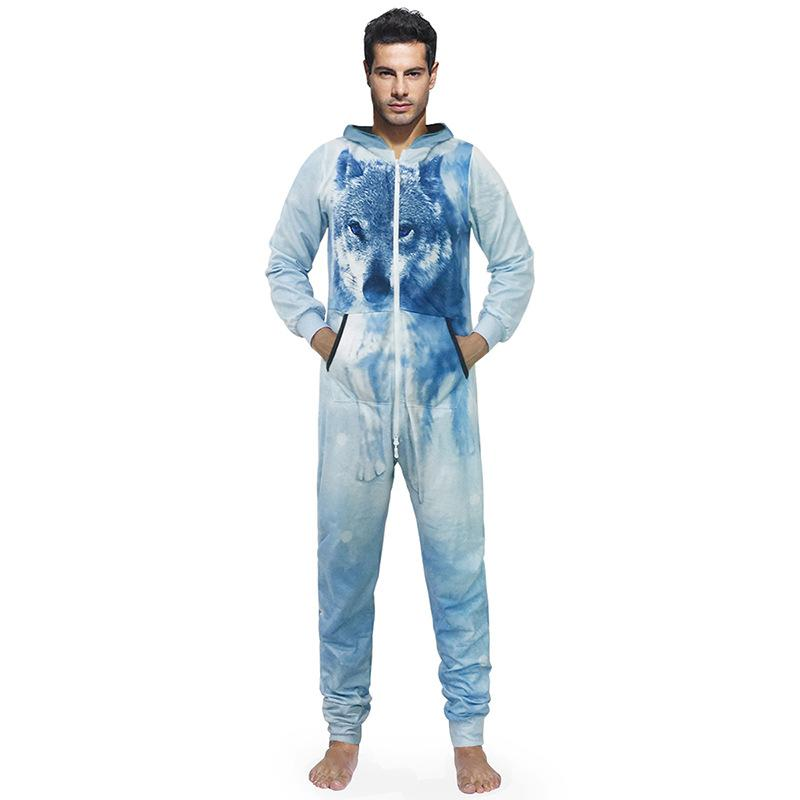 91e7d1906a66 2019 Autumn New Hooded Jumpsuits Men Snow Wolf Print Long Sleeve Overalls  Pajamas Body Pyjamas Warme Winter Jumpsuit From Ngexport