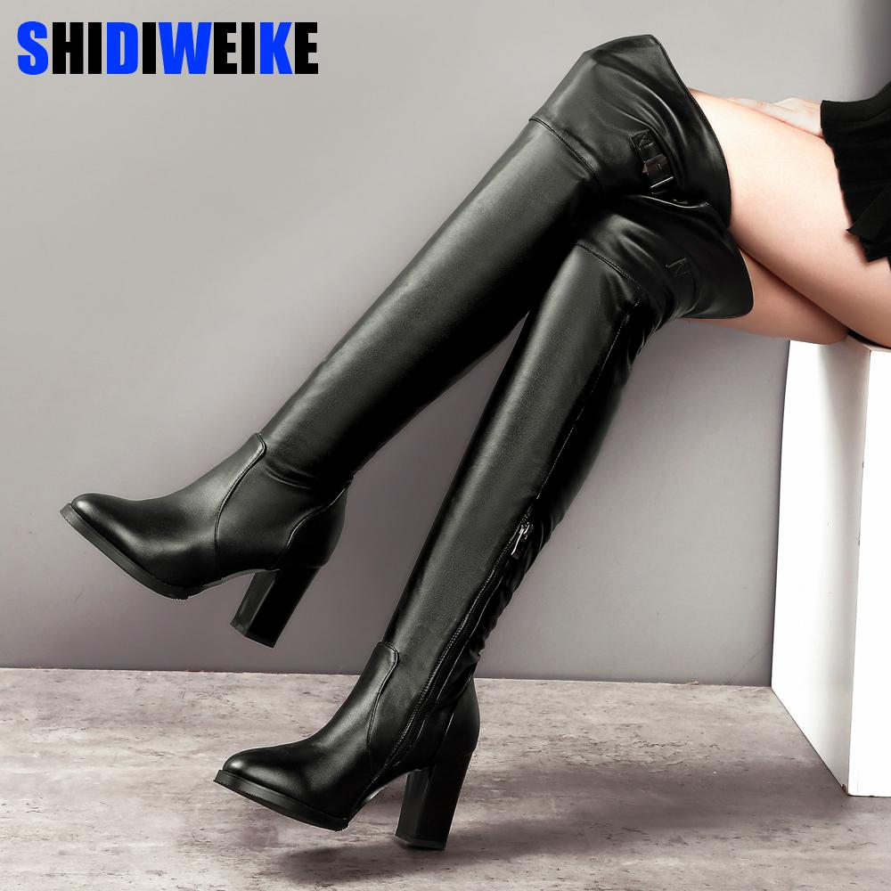 c4831e8199b Soft Leather Over The Knee Boots Sexy High Heels Thigh high Women Boots  Comfort Square Heels Woman Shoes n300