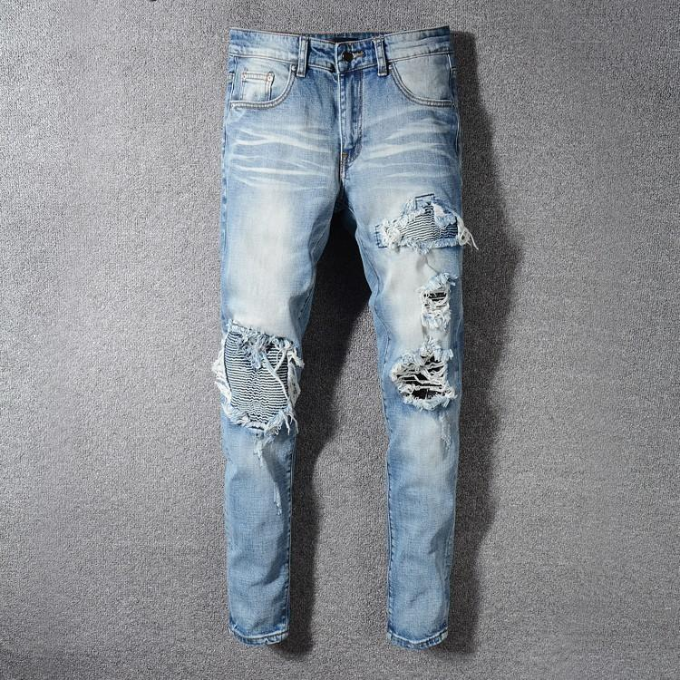 Men's jeans Ripped Hole trousers Cat hair denim New in 2019 Promotion high  quality Cheap wholesale Slim fit Straight Striped road