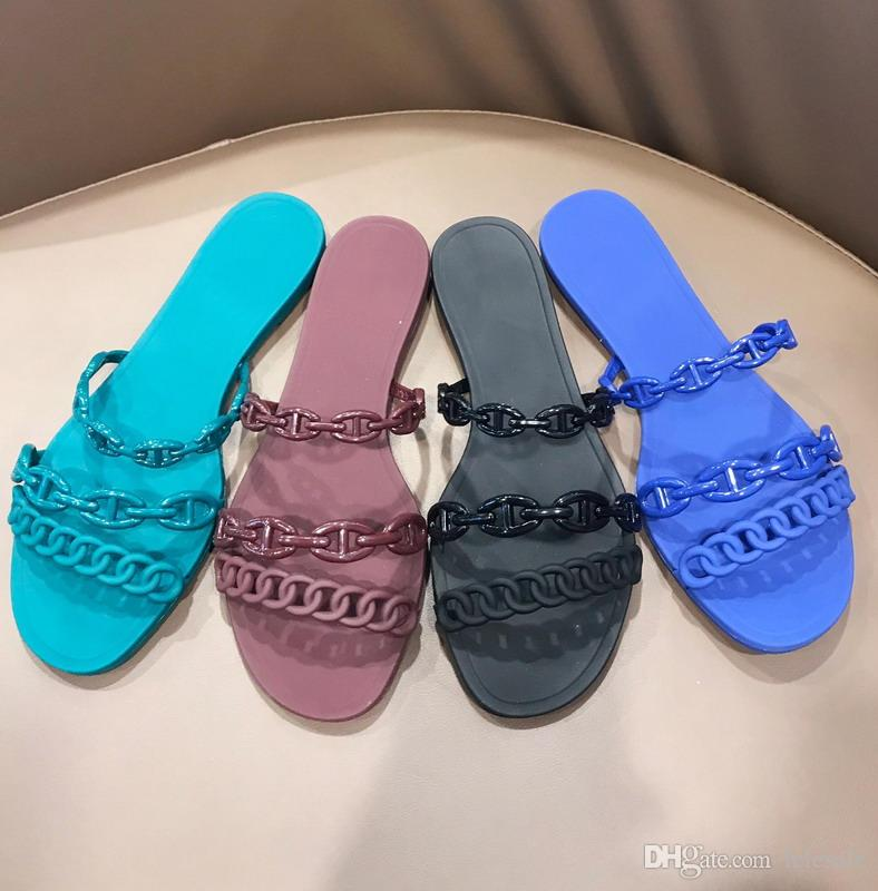 96a1efaab New 2019 Designer Women Blue Green Black Jelly Chain Flat Sandals Brand  Sexy Summer Beach Slippers Shoes 35-40 Free Shipping