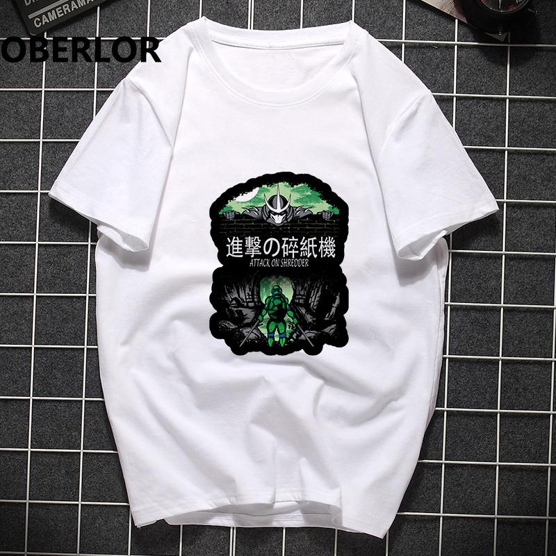 Mens Fashion 2019 Angriff auf Shredder Anime T-Shirt Homme Harajuku Lustige T-Shirts Tumblr Gothic T-Shirt