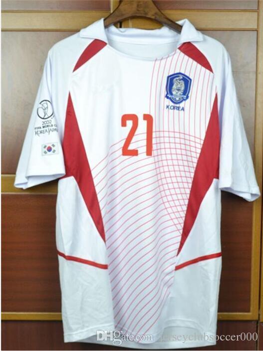 info for 8961c 36432 World Cup Retro Soccer jerseys 2002 World cup south korea home Away White  short sleeve J H AHN J S PARK Jung-Hwan Park Ji-Sung jersey shirt