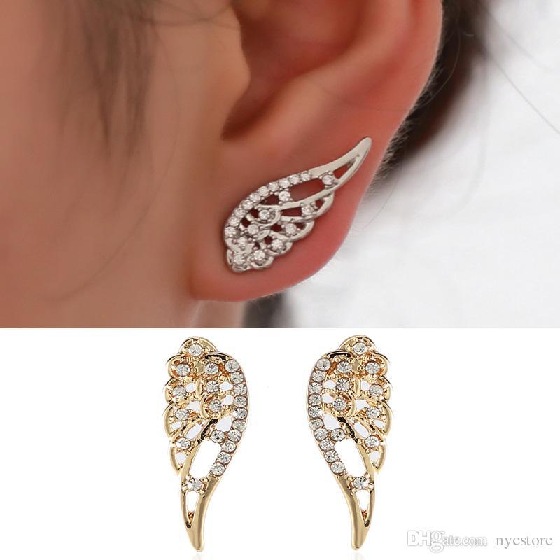 e31edb565963e New Wings Stud Earrings For Women Punk Silver Gold Angel Wings Earrings  simple design Hiphop Fashion jewelry