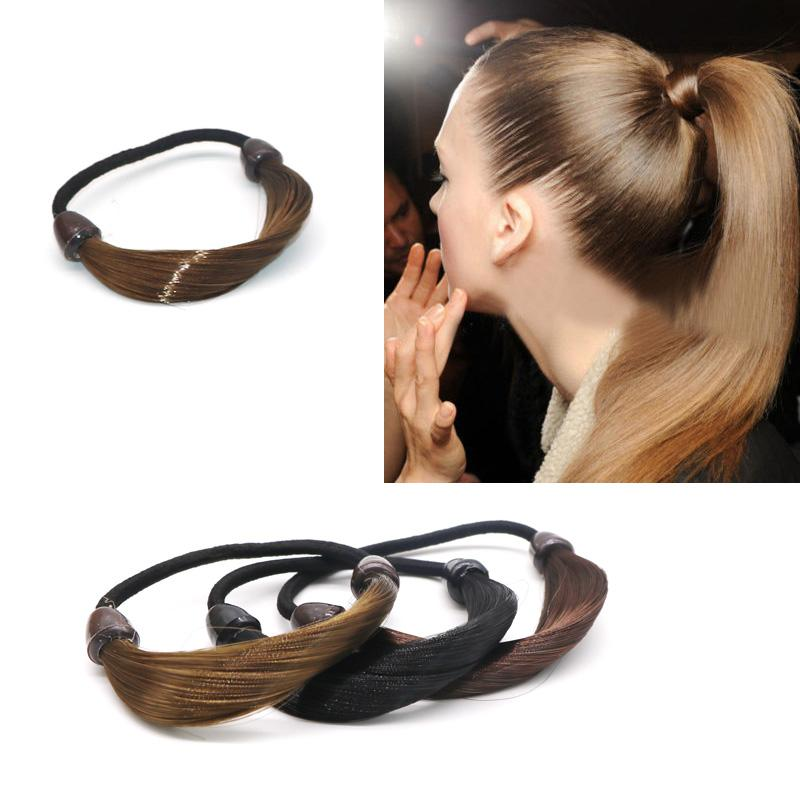Women Fashion Elastic Hair Bands Hairpiece Hairband Girl Synthetic Wig  Ponytail Holder Hair Rope Headwear Accessories Headbands Jewelry Cute Hair  ... 6cfb03a210a