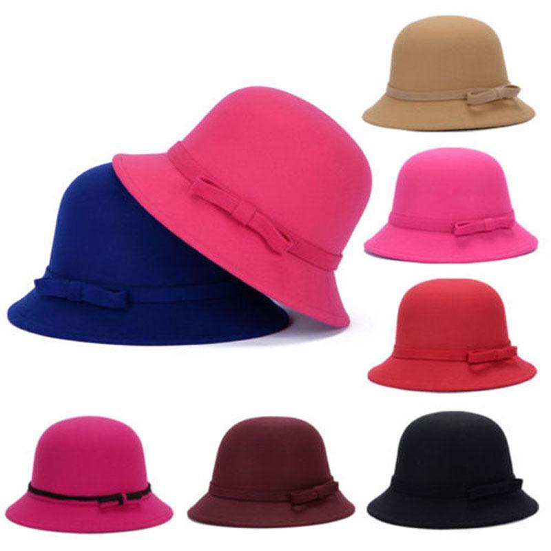 d923250b9376d Compre Marca Nueva Moda Para Mujer Mujer Cloche Sombrero Fieltro Cubo  Fedora Bowler Dome Bow Cap Vintage A  36.06 Del Luney