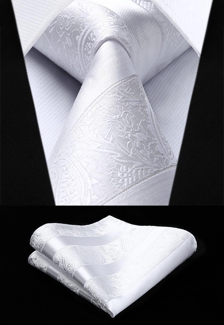 5721ac6fcc80 Woven Men White Tie Paisley Necktie Handkerchief Set#TP804W8S Party Wedding  Classic Fashion Pocket Square Tie Cheap Ties Skinny Tie From Rainbowwo, ...