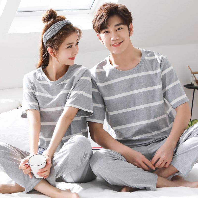 0481c254e9 2019 Big Size M 3XL Pyjamas Summer Couple Pajamas Set Men And Women  Sleepwear Cute Cartoon Short Sleeve Home Clothing From Adeir