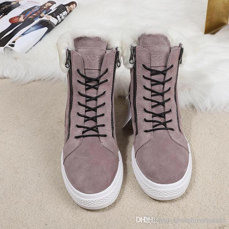 eaed2481668f4 Womens Winter Ankle Boots Female Zipper Flock Platform Snow Boot Ladies  Plush Sneakers Casual Flat Shoes Woman Footwears VGG Brand Luxury Boots  Sale Wedge ...