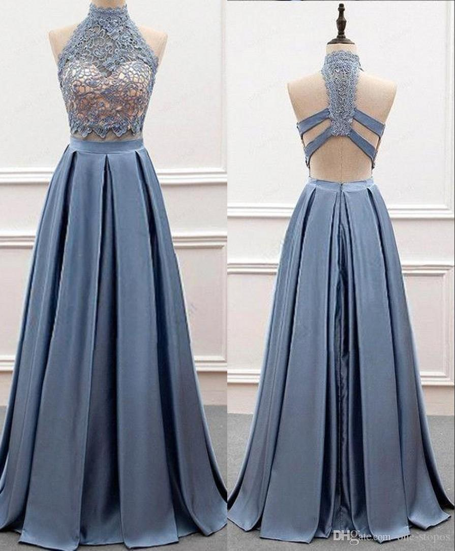 58f5e7270 Formal Long Blue Lace Satin Evening Party Dresses Sexy Backless Prom  Celebrity Gowns 2019 Custom Made Floor Length Plus Size Dresses Myers Evening  Dresses ...