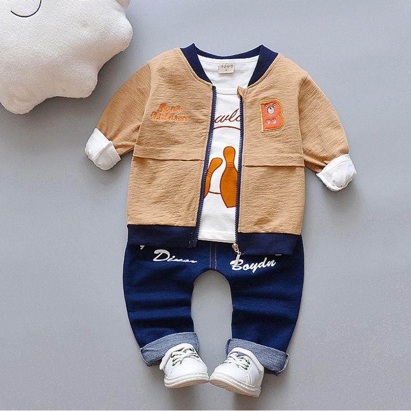d6dfb000f 2019 Baby Boy Coat Long Sleeved Tshirt Pants Set Enfant Children ...