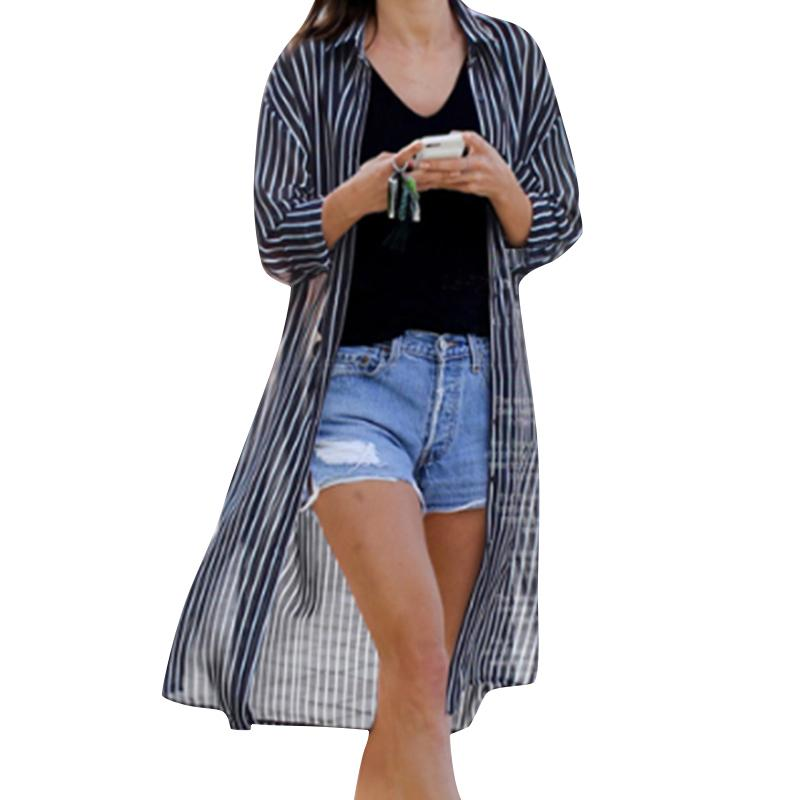 ceb5fd2366b Women Striped Long Sleeve Shirt Turn Down Collar Plus Size Kimono Cardigan  Autumn Fashion Oversized Tunic Blouse Long Shirt Tops UK 2019 From Your07