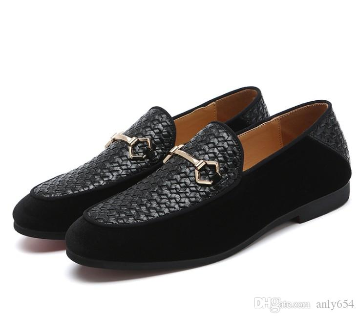 Abito Moda Uomo scarpe casual partito fannulloni pattini Cowskin scarpe slip singolo On Wedding Pumps Nero Big Size 37-48