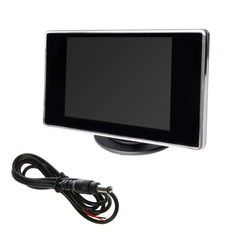 3.5 Inch Car Monitor TFT LCD 320*4:3 Screen 2 Way Video Input For Rear View Backup Reverse Camera DVD VCD DC 12V