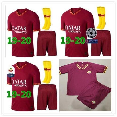 2019 AS roma Home soccer Jerseys kit + socks 18/19/20 DZEKO PEROTTI TOTTI  DE ROSSI rome Camisetas football Shirt Kit uniform