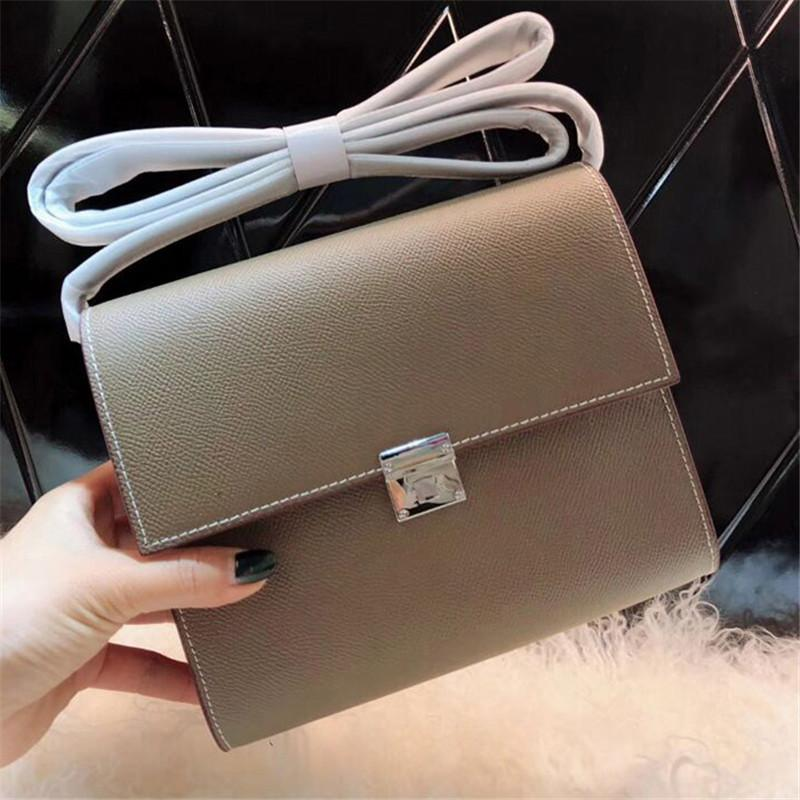 Belle2019 Bean H Curd Small Square Single Shoulder Messenger Clic Airline Stewardess Joker Genuine Leather Woman Package