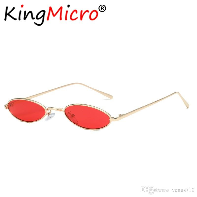 944fd42ecb4a8 Compre Vintage Pequeno Oval Óculos De Sol Das Mulheres Retro Skinny Moldura  De Metal Verão Sunnies Homens Óculos De Sol Red Gold Yellow Lens Eyewear De  ...
