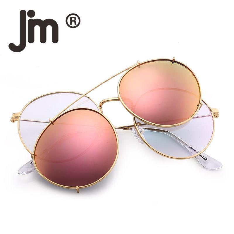 368aabefcfc3 Round Polarized Clip On Sunglasses Metal Frame Mirror Circle Lens Men Women  Retro Vintage Steampunk Sun Glasses Oculos De Sol Gafas Serengeti Sunglasses  Sun ...
