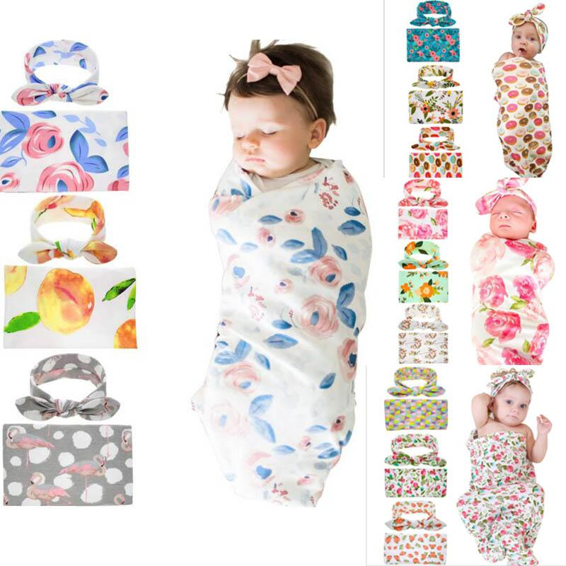 Kids Muslin Swaddles Ins Wraps Blankets Nursery Bedding Newborn Organic Cotton Ins Floral Print Swaddle + Headband Two Piece Sets B11