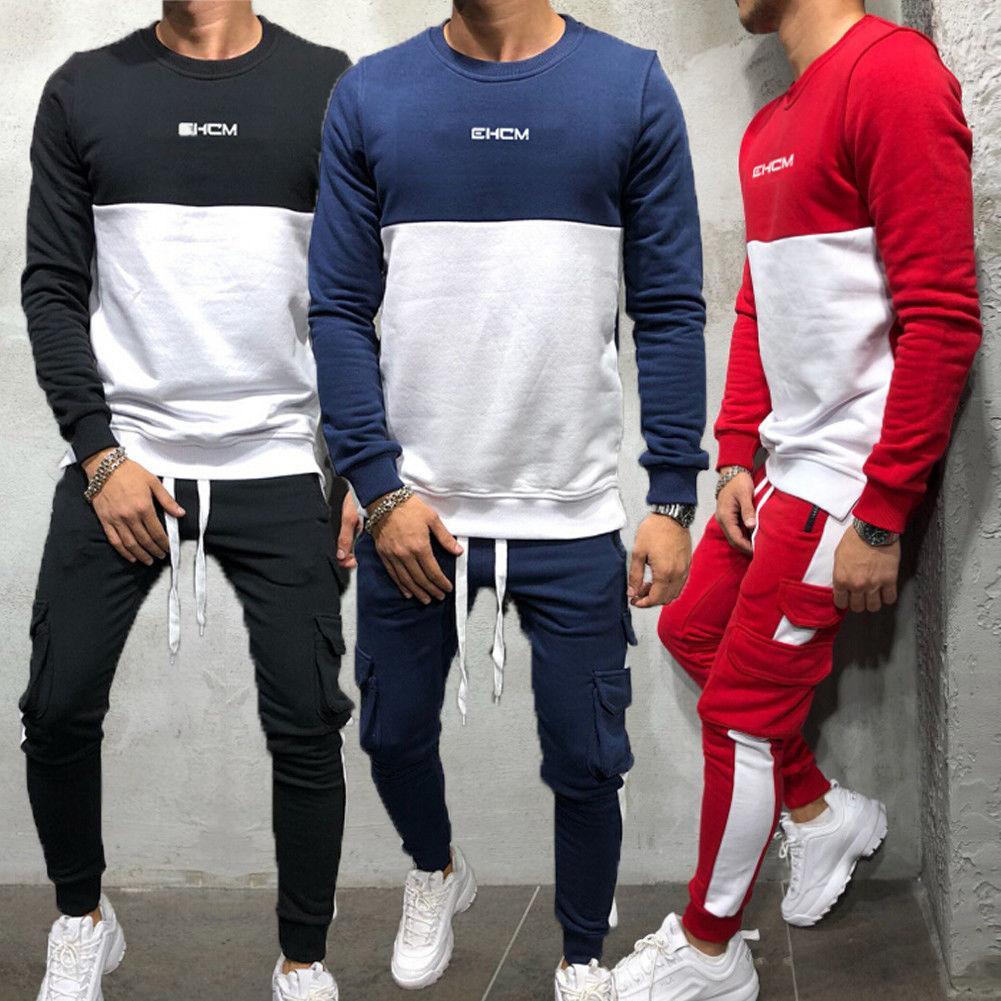 4801a8ef7a0b2 Compre Autumn New Men Top De Manga Larga Sudadera Sudaderas Con Capucha + Pantalones  Chándal Trajes De Deporte Traje Deportivo Moda Streetwear A  23.04 Del ...