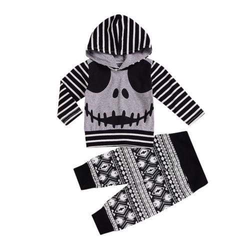 d135242c0 2019 2018 Brand New Autumn Newborn Baby Boy Girl Halloween Outfits Skull  Striped Long Sleeve Hooded Print Pants Casual Set 0 24M Y18120801 From  Shenping02, ...