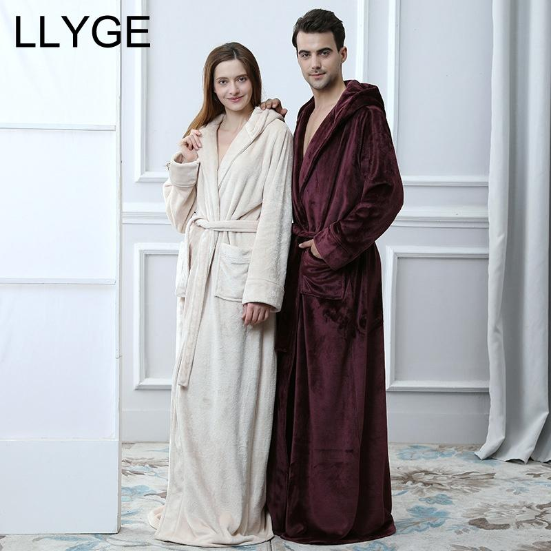 8150ab8d11 2019 Men Hooded Extra Long Flannel Couple Robe 2018 Autumn Winter Lover  Homewear Nightgown Woman Men S Thick Warm Sleepwear BathRobes From  Yuhuicuo