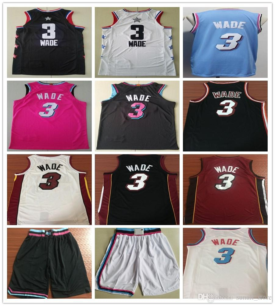 Cucito 2019 New Style Dwyane Wade Jersey Rosa Blu Bianco Rosso Nero Colore Dwyane 3 Wade Maglie Basket universitari Camicie
