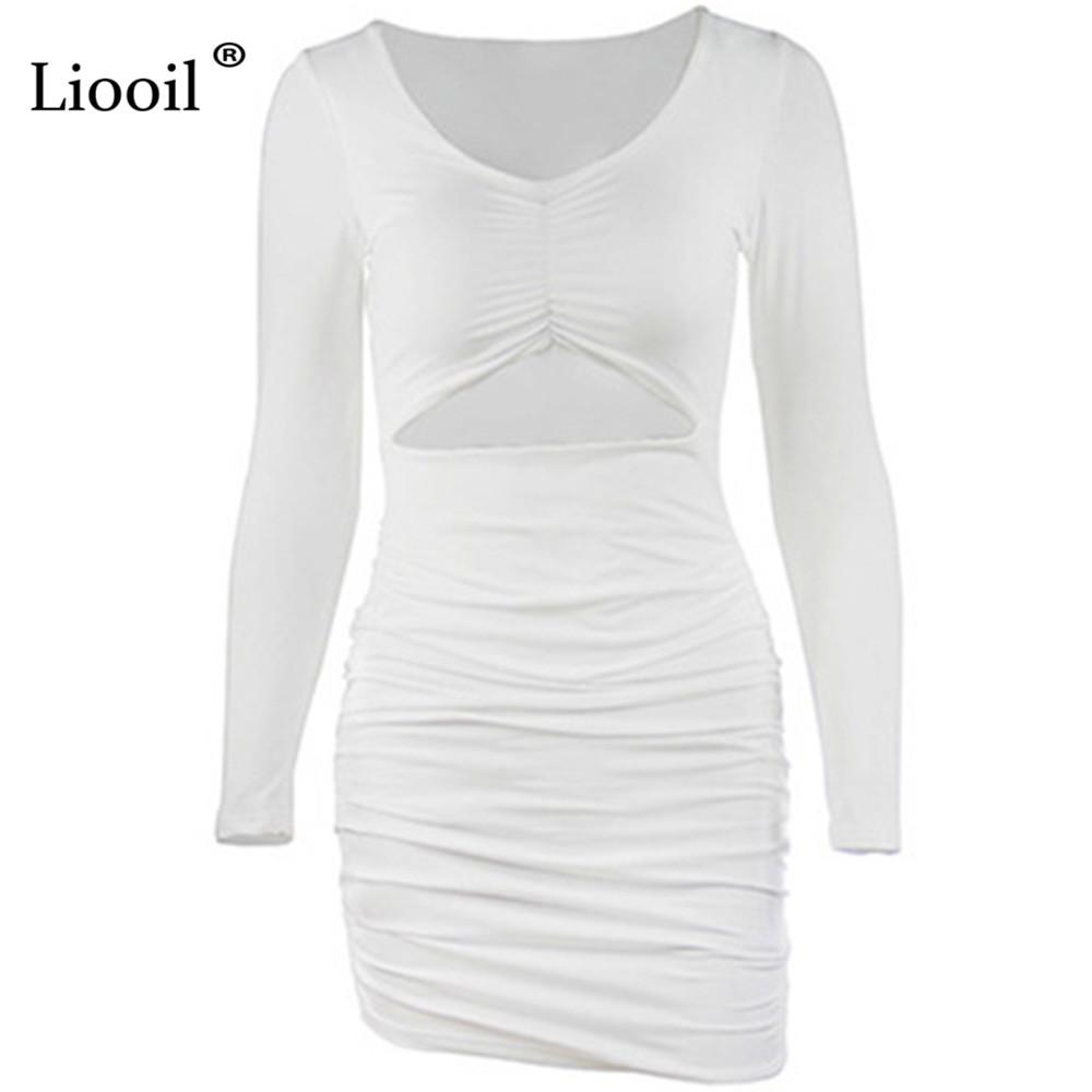 Liooil Sexy Draped Bodycon Mini Dress Women Autumn Winter V Neck Detail Cut Out Long Sleeve Black White Party Dresses Club Wear