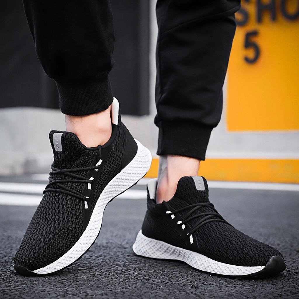 2019 Fashion Casual Shoes Men Brand Comfortable Breathable Male Woven Sneakers Shoe Damping Waliking Shoes Man Tenis Footwear