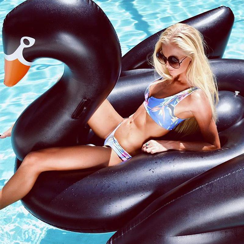 Inflatable Swimming Pool Float Summer Lake Swimming Lounge Pool Kid Giant Rideable Black Inflatable Swan Design Toys Float Raft