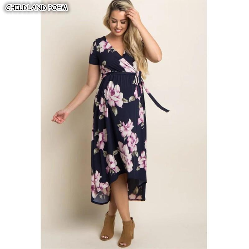 89b2734c13fa8 2019 Maternity Dresses Summer Maternity Clothes Floral Elegant V Neck Pregnancy  Dress Cotton Women Nursing Breastfeeding Dress From Askkit, $25.31 | DHgate.