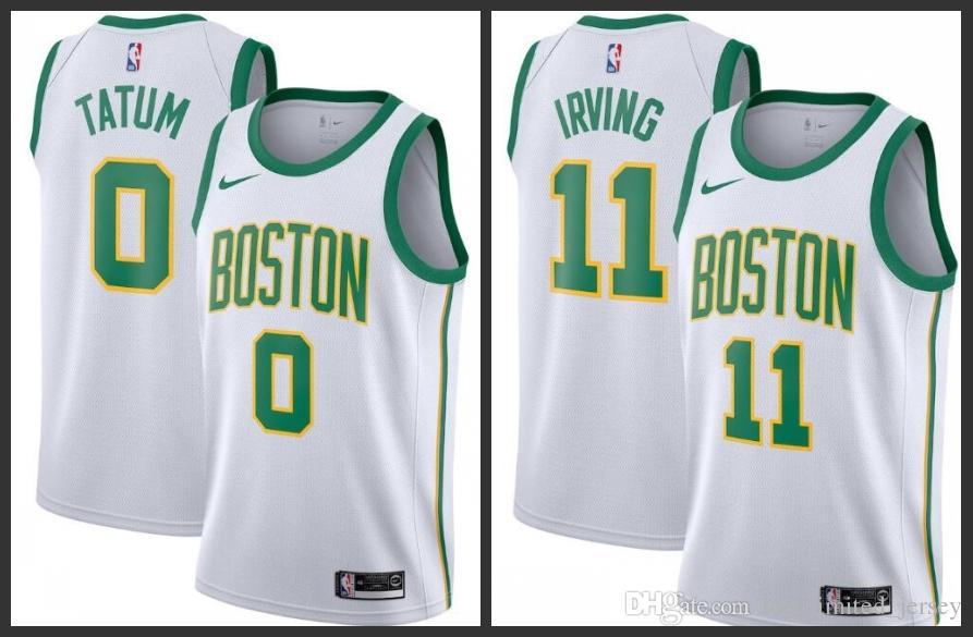 hot sale online 19597 9cf10 2018-19 hot Boston Men Celtic Jerseys Kyrie Irving Jayson City Jersey  Edition Free shipping