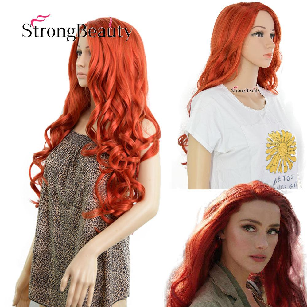 Aquaman Mera Amber Heard Cosplay Wig Prop Queen Of Atlantis Long Orange Red  Hair Color Wigs Sasuke Cosplay Wig From Lili614 5212df81d