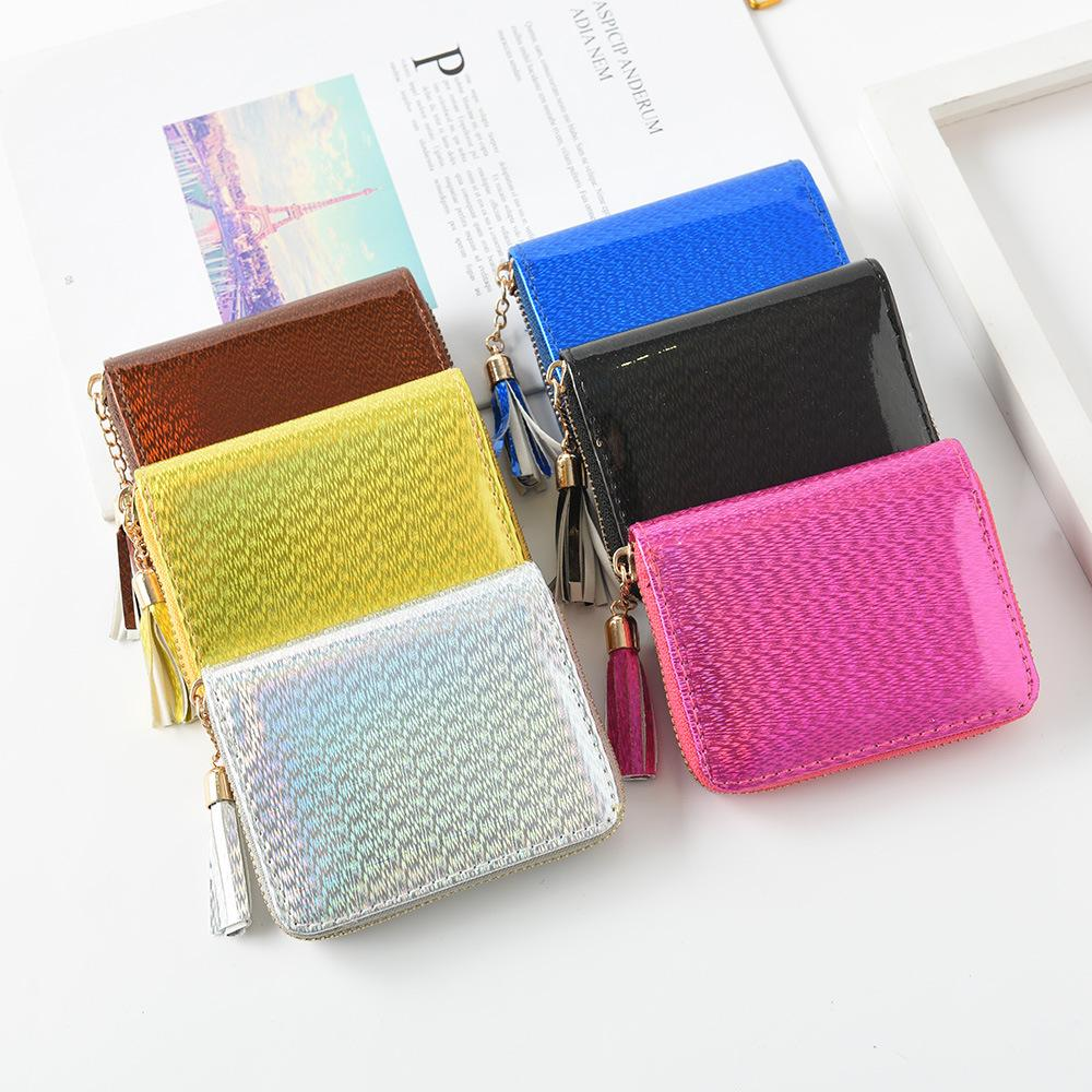 6styles Laser Tassel Short Wallet Women Girls Hologram Small Coin Purse Zip Coin Credit Card Holder Purse Clutch Wallet FFA2006