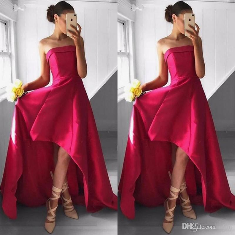 23b6333d49b Chic Strapless High Low A Line Prom Dress Sexy Satin Homecoming Dress Simple  Sleeveless Formal Party Evening Gowns Chiffon Prom Dress Consignment Prom  ...