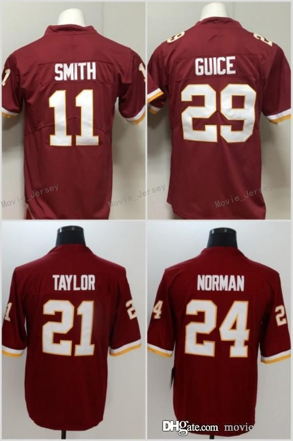 6bd2b707 11 Alex Smith Jersey Washington 21 Sean Taylor 24 Josh Norman 29 Derrius  Guice Redskins Football Jerseys Red White