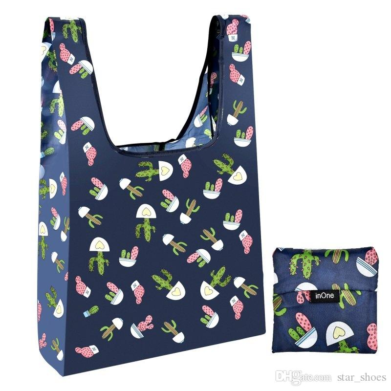4cd2d4a1f INONE 2019 Women Foldable Folding Eco Shopping Bag Tote Pouch Portable Reusable  Grocery Storage Bag Print Cactus Outlet Closeout  89962 Shopping Bags  Direct ...