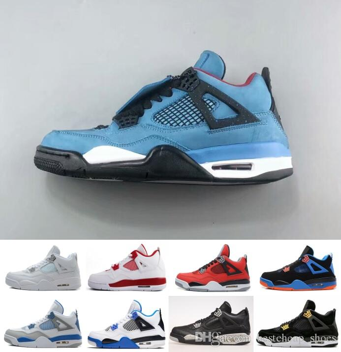 sports shoes a2152 416bd Acheter Nike Air Jordan Jordans Retro 4 4 Hommes Chaussures De Basket Ball  Travis Sports Houston Oilers 4s Cactus Jack Argent Pur Raptors Rétro Ciment  Noir ...