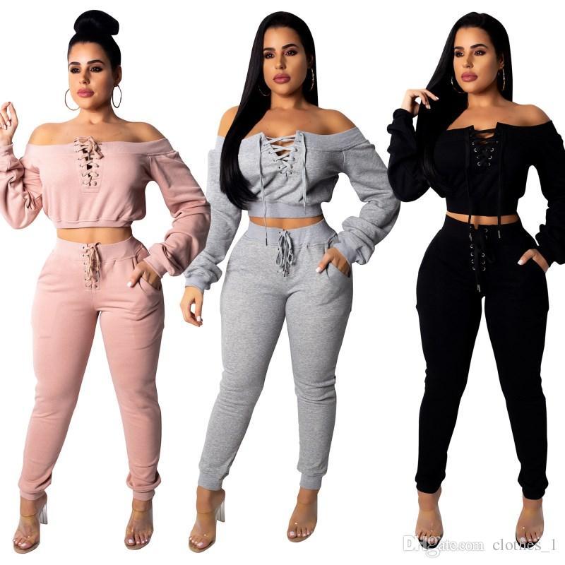 Compre Mujer Diseñador De Ropa Deportiva Camisa De Manga Larga Pantalones  Chándal Del Hombro Con Capucha Legging Conjunto De 2 Piezas Bodycon Trajes  Moda ... 94703a61a0a44