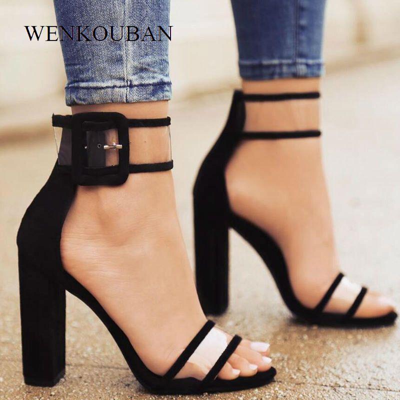 f9cd51d9ca9 Compre Más El Tamaño 35 42 Sexy Transparente Zapatos De Mujer Tacones Altos  Sandalias Bombas Mujer Bloques De Verano Talones Sandalias Zapatos Mujer ...