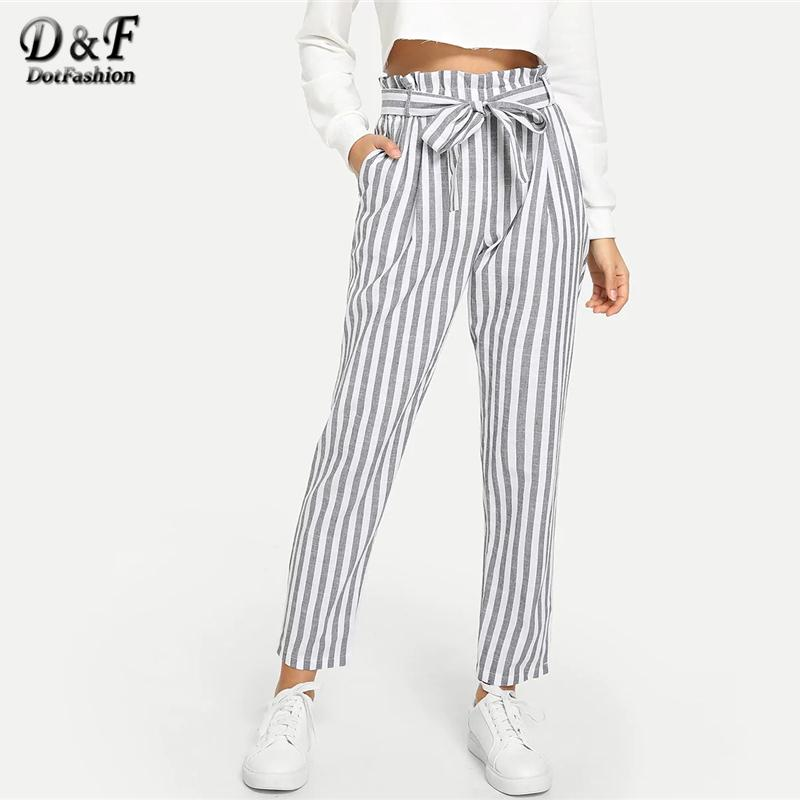 d46301b83 Dotfashion Grey Vertical Striped Frill Belted Pants Women 2019 Casual  Korean Style Pants Spring Autumn Streetwear Crop Trousers