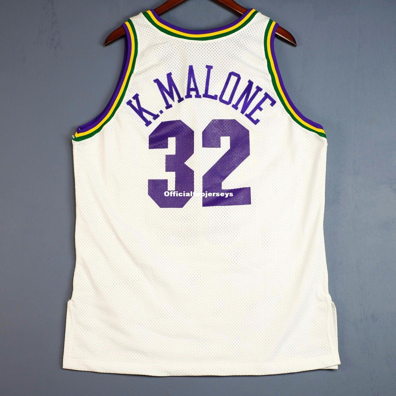 innovative design e8088 897db 100% Stitched Karl Malone Champion Sewn Home Jersey Mens Mens Vest Size  XS-6XL Stitched basketball Jerseys Ncaa