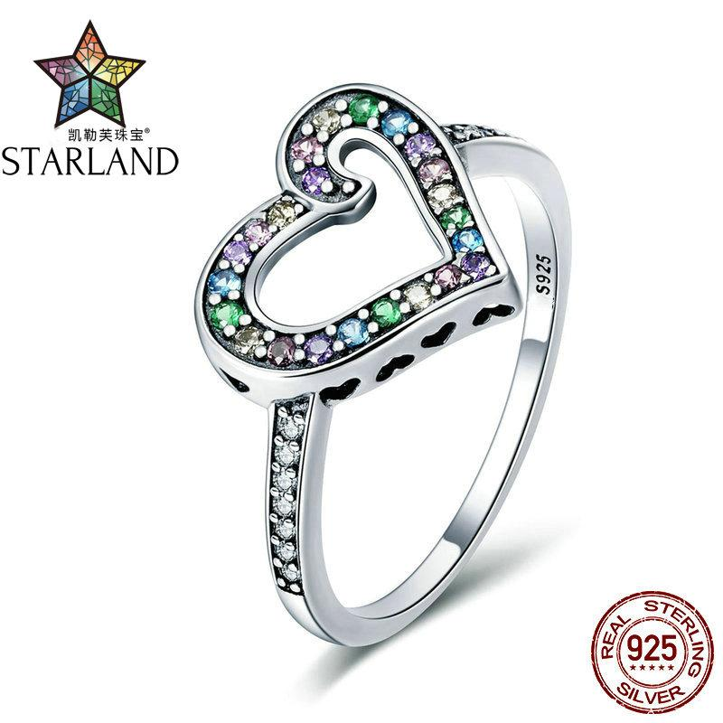 Starland Authentic 925 Sterling Silver Rainbow Love Heart Rainbow Crystal CZ Finger Ring for Women Sterling Silver Jewelry
