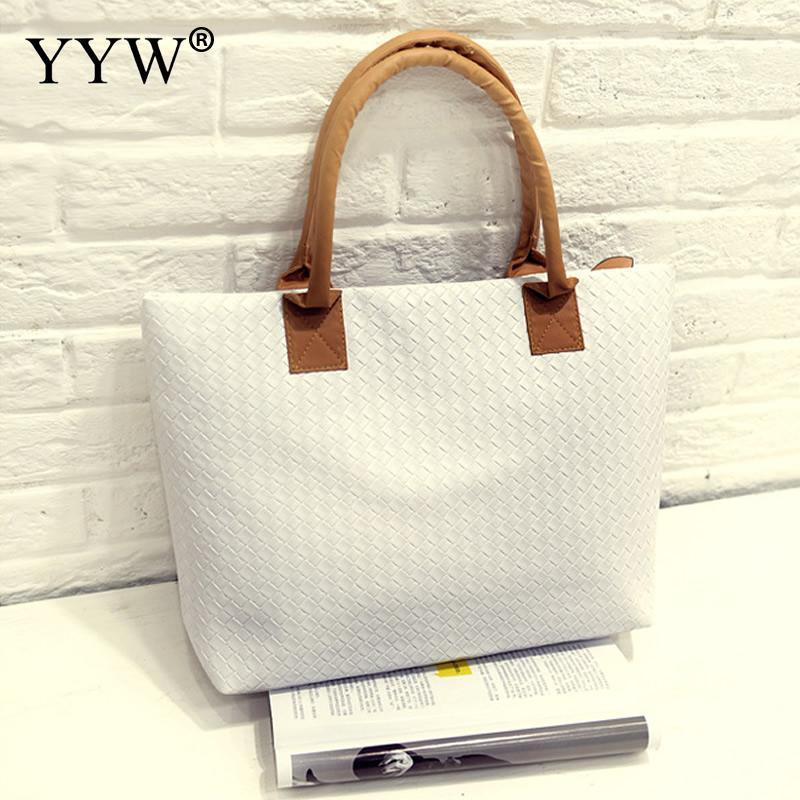 9e8a2ab264d Designer 2019 Casual Pu Leather Handbag Korean Large Capacity Tote Shopping  Bags For Women Travel Handbags Female White Pink Yellow Bags Ladies Bags ...