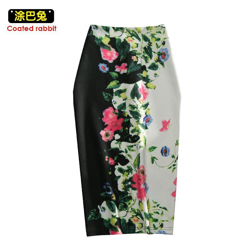 1751f570c Cintura Elástica Falda Lápiz Elástico Femenino Bodycon Faldas Estampado  Floral Para Mujer Longitud de Rodilla Dividir Damas Oficina Saia C19041601