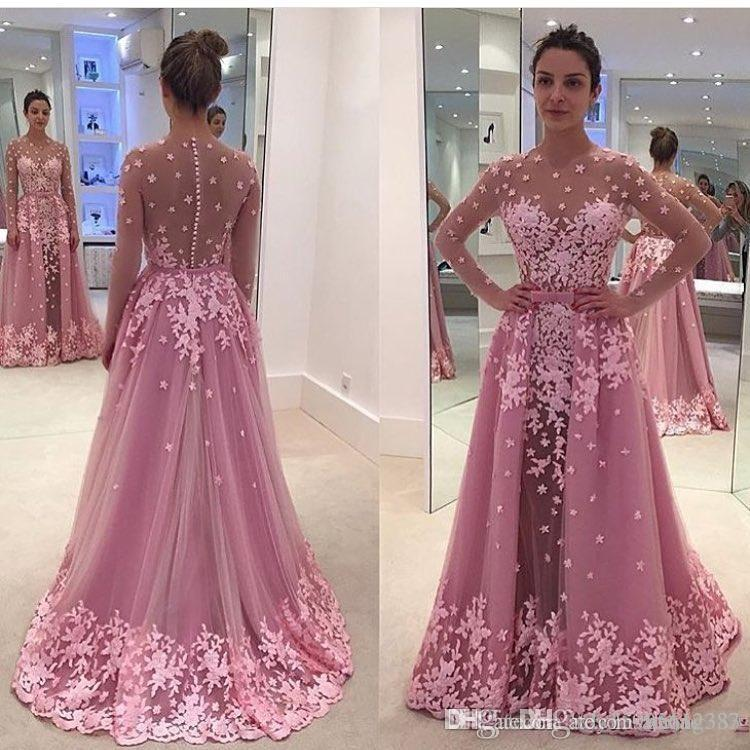 2019 A Line illusion Long Sleeves Zuhair Murad Plus Size African Arabic Formal Prom Party Gowns Pink Vintage Lace Overskirt Evening Dresses