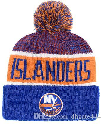 ISLANDERS Ice Hockey Knit Beanies Embroidery Adjustable Hat Embroidered Snapback Caps Orange White Black Stitched Hat One Size 02