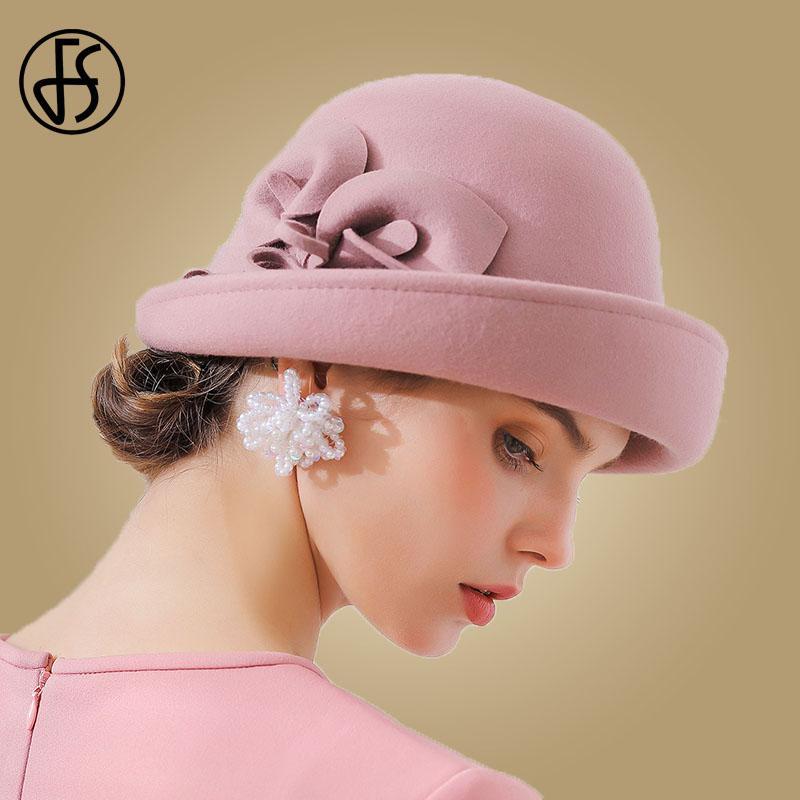 Compre FS 2018 Elegante Fino Aba Fedora Hat Para As Mulheres Feltro De Lã  Floral Senhoras Bowler Preto Do Vintage Outono Inverno Cloche Chapéus De  Nylonshan ... ce385968baa