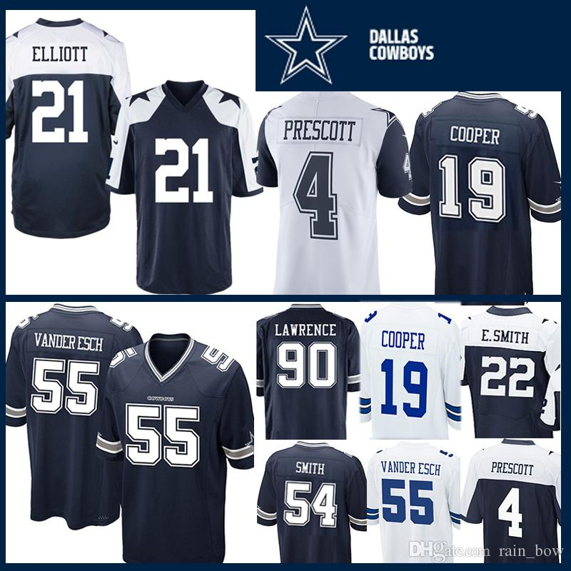 quality design 2e483 3637e 21 Ezekiel Elliott 55 Leighton Vander Esch Jersey Dallas Cowboys 4 Dak  Prescott 54 Jaylon Smith 50 Lee 90 Lawrence 22 Smith 19 Amari Cooper